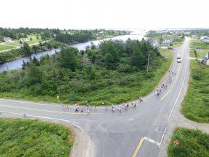 """Tor Bay Acadien Society - 2016 Festival Savalette: Tintamarre marchers heading dwn """"la butte du pungue (pont)"""""""