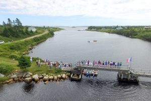 Tor Bay Acadien Society - Footbridge – North to South view with Ram's Island in background