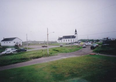 Tor Bay Acadien Society - Getting ready for the Steeple to Steeple race in front of the church – August 2, 2004