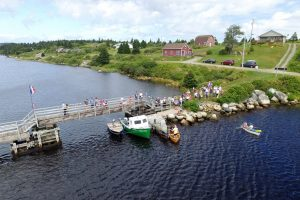 Tor Bay Acadien Society - 2016 Festival Savalette: Tintamarre finish line – Footbridge and the annual duck race. South to North view
